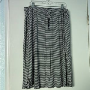 Dip Brand Black and White Striped Midi Skirt